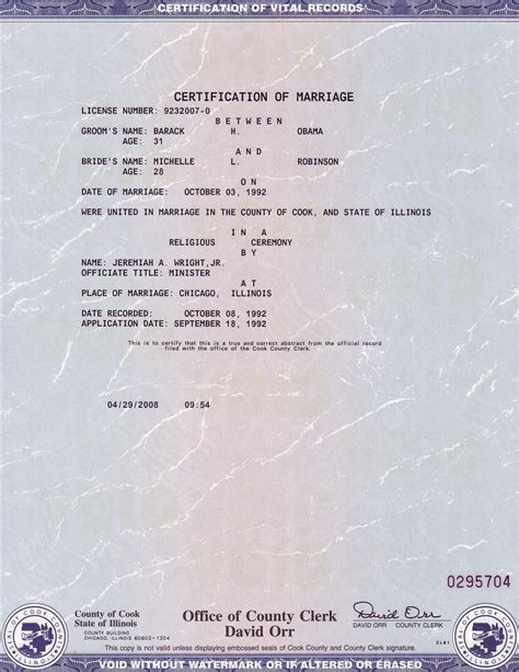 Record Of Marriage In Illinois Obama Born Status Kenya