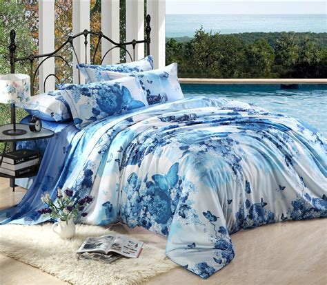 blue queen size comforter special and new 100 cotton bedding set queen king size
