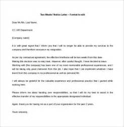 Resignation Letter Two Weeks Notice Two Weeks Notice Letter 31 Free Word Pdf Documents Free Premium Templates