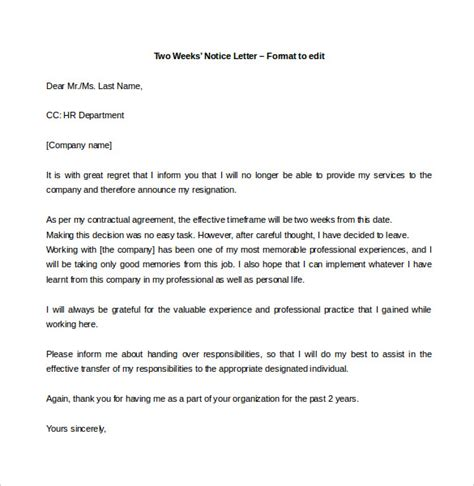 resignation letter easy exles of resignation letters 2