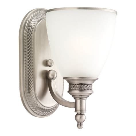 Brushed Nickel Bathroom Sconces shop sea gull lighting laurel leaf antique brushed nickel bathroom vanity light at lowes