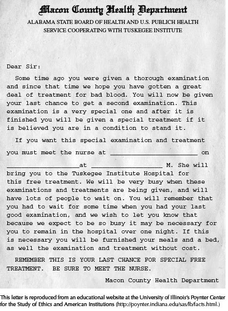 Sle Letter To Recruit Research Participants tuskegee syphilis study recruitment letter sociological