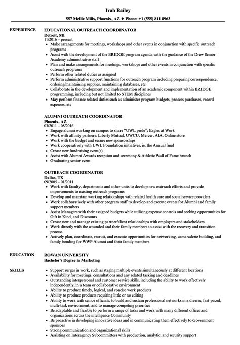 excellent community outreach coordinator resume sle