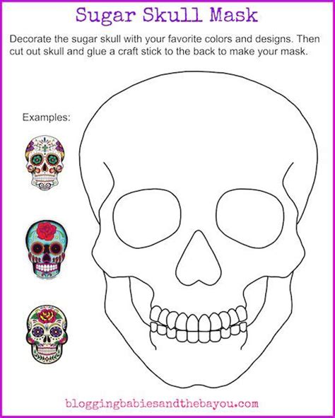 day of the dead skull mask template sugar skull mask printable dia de los muertos day of the