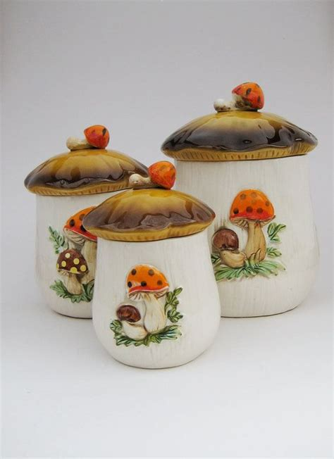 vintage kitchen canisters orange coffee sugar tin canisters set of 3 vintage orange brown sculptural ceramic mushroom