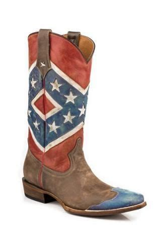 roper rebel flag brown toe cap snip toe americana collection boots