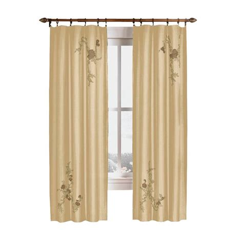 curtain works curtainworks asia 95 in l gold faux silk floral