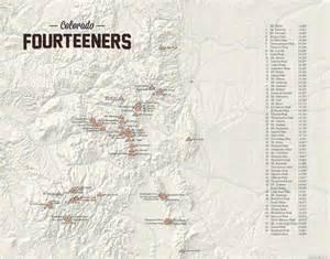 map of colorado fourteeners 58 colorado 14ers map 11x14 print