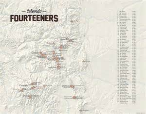fourteeners in colorado map 58 colorado 14ers map 11x14 print