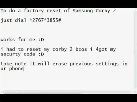 Reset Samsung Unlock Code   how to hard reset samsung mobile by a secret code