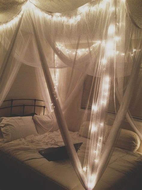 Bed Canopy With Lights Canopy Bed Diy Curtains Bedroom Decor Light Lights In The Bedroom Events