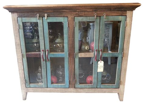antique multi color pine console cabinet w 4 doors