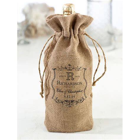 Personalized Burlap Wine Bottle Bag