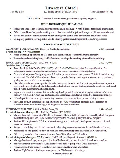 Resume Template Quality Manager Resume For A Technical Account Manager Susan Ireland Resumes