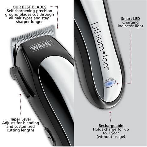 Amara Hair Clipper Am 1900 wahl clipper lithium ion cordless rechargeable hair clippers and trimmers for hair cutting