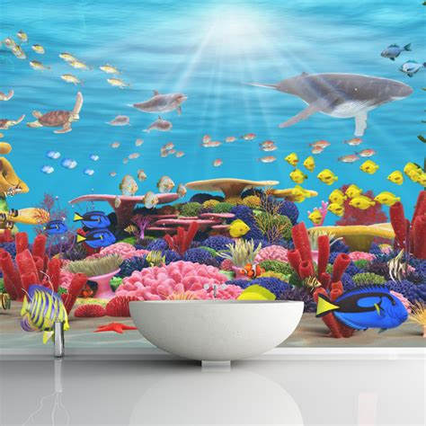 the sea wall mural blue coral reef wall mural the sea photo wallpaper