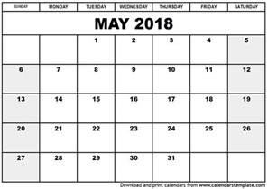 Calendars Templates May 2018 Calendar Template