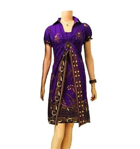 Dress Batik Cantik Db97 Ungu 12 best baju atasan blus batik wanita images on