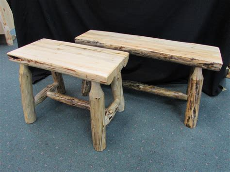 half log bench rustic pine laminated half log benches sisters log furniture