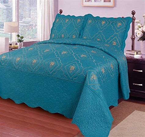 Solid Turquoise Quilt Reversible Solid Teal Turquoise Floral Vines Stitching