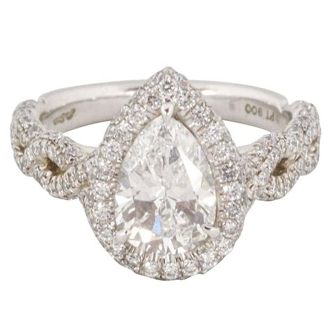 1 38 carat pear shaped platinum engagement ring