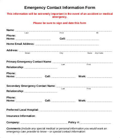 emergency information form template emergency contact form 11 free word pdf documents