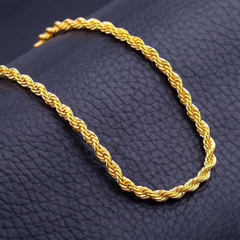 rope for jewelry unisex mens womens 18k gold plated twisted rope chain