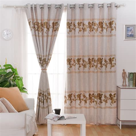 home decor drapes printed plant pattern of polyester linen blend modern