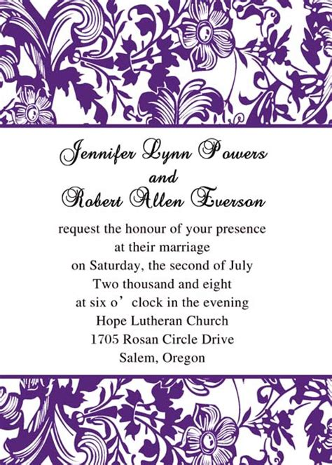 printable wedding invitations damask free printable damask wedding invitation templates