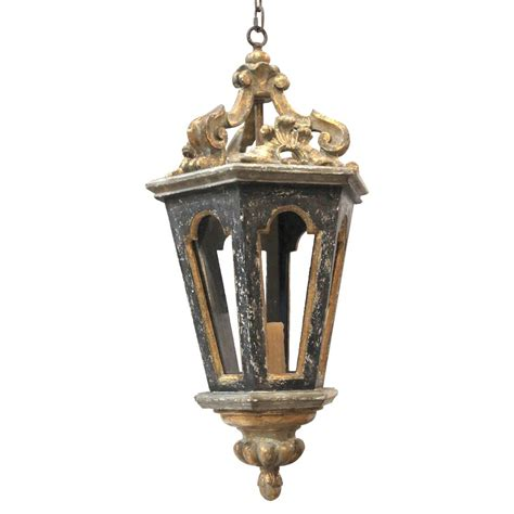 Harrietta French Black Gold Carved Lantern Pendant Light Black Lantern Pendant Light
