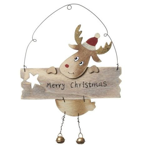 gorgeous hanging wooden reindeer christmas decoration