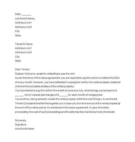 sle eviction notice for failure to pay rent sle warning letter tenant not paying rent uk notice