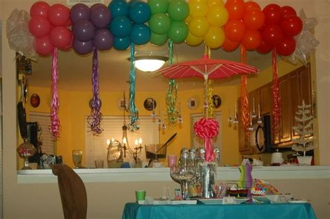 Birthday Decoration Ideas At Home With Balloons Rainbows And Sparkles Birthday Ideas Birthdays Rainbow And The Kid