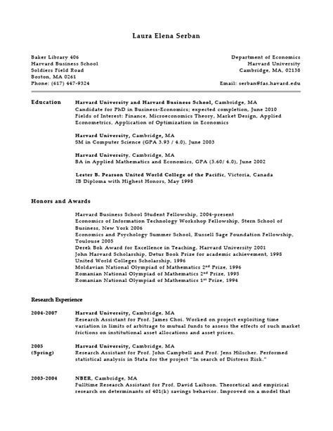 harvard cv template harvard resume template learnhowtoloseweight net