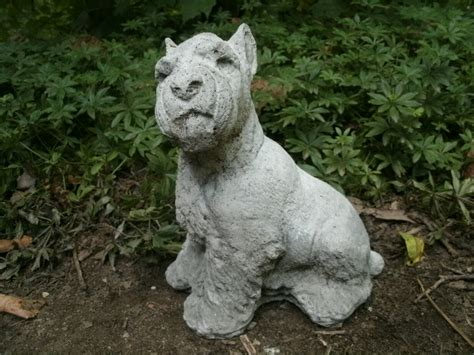 libro the cement garden vintage vintage cement 7 1 2 quot schnauzer dog garden art statue weathered pitted concrete ebay