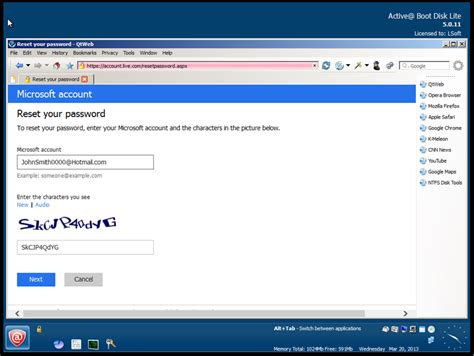 windows live reset password secret question windows password recovery technical questions