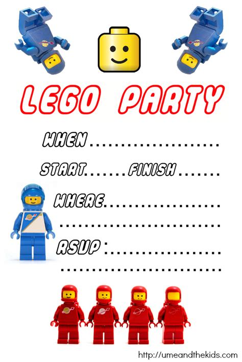 free printable lego birthday party invitations u me and