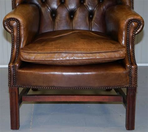 chesterfield armchairs for sale pair of hand dyed vintage brown leather chesterfield