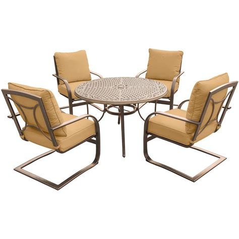 Hanover Traditions 5 Piece Patio Outdoor Dining Set With 4 Dining Set With Swivel Chairs