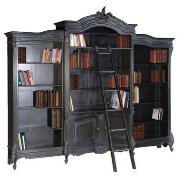 bookcase with ladder bookcase black
