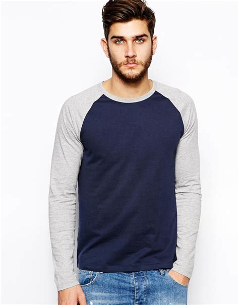 lyst asos sleeve t shirt with contrast raglan sleeves in blue for