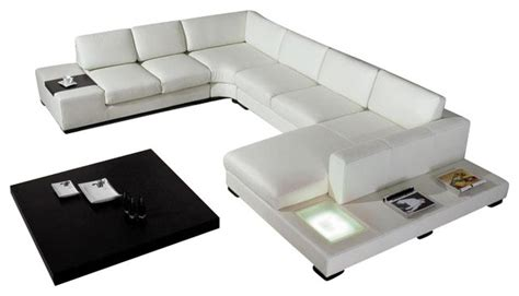 white top grain italian leather sectional sofa modern
