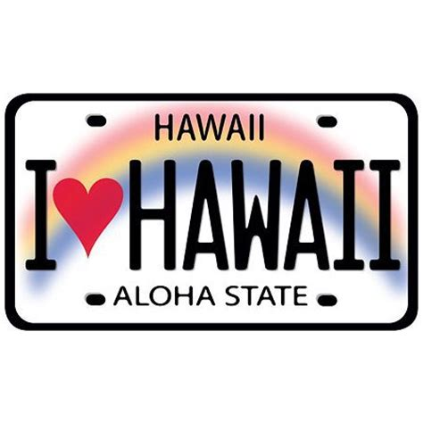 Auto Sticker Hawaii by I Love Hawaii License Plate Car Decal Bumper Sticker