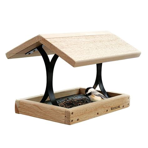 shop woodlink fly thru cedar platform bird feeder at lowes com