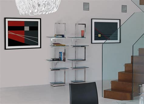 mensole vetro sospese heritage libreria metallo e vetro italy design
