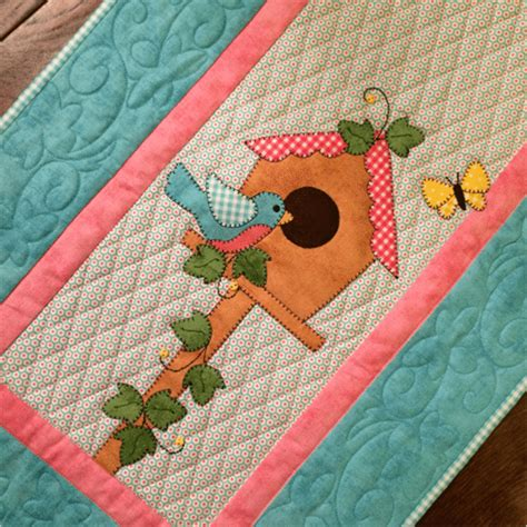 birdhouse quilt pattern birdhouse table runner quilt printed pattern stitches of