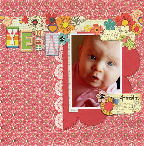 scrapbook layout for 4 photos at 4 months scrapbook com scrapbooking layouts