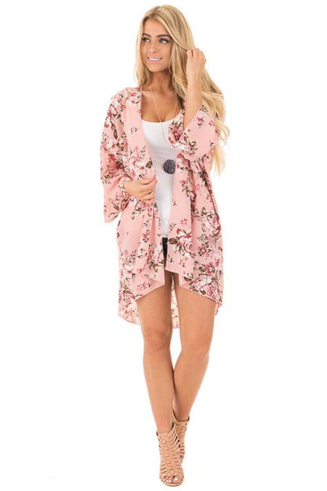 Hv Maxi Kimono dusty pink and floral print kimono lime lush