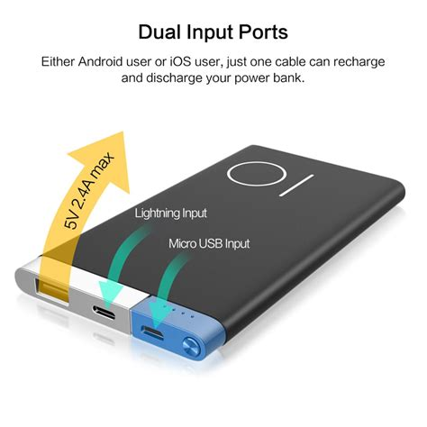 Power Bank Umax 10000mah Ultra Thin Built In Cable Iphone slim 10000 mah power bank rock portable ultra thin polymer metal alloy powerbank battery power