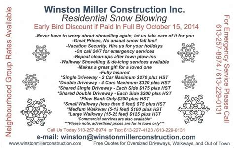snow removal quote template winston miller construction inc opening hours 1123